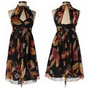 Anthropologie Anna Sui Black Metallic Silk Dress 2
